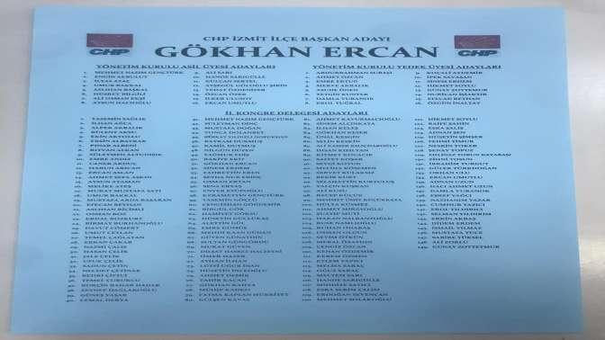 CHP İzmit'te Gökhan Ercan'ın listesi
