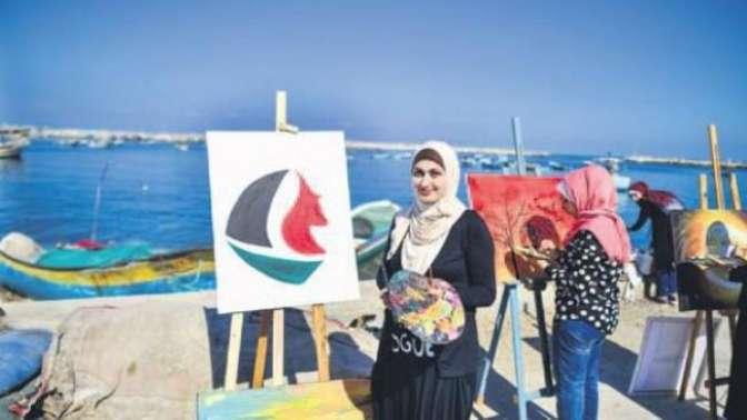 Filistinli kadınlar resim yaptı