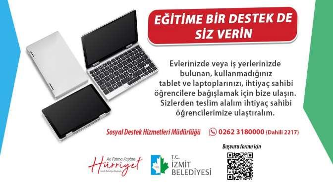 İzmit Belediyesinden ihtiyaç sahibi öğrencilere tablet, internet ve kırtasiye desteği